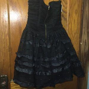 Betsy & Adam Junior's Black Formal Strapless Dress